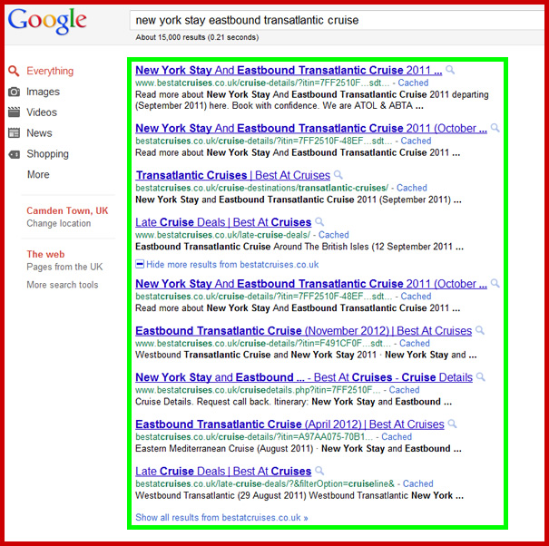 The screenshot below shows our client's webpage in Positions 1, 2, 3, 4, 5, 6, 7, 8 & 9 of Google!