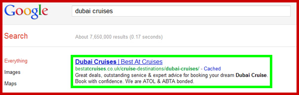 The screenshot below shows our client's webpage in Position 1 of Google ahead of 7.65 million results.